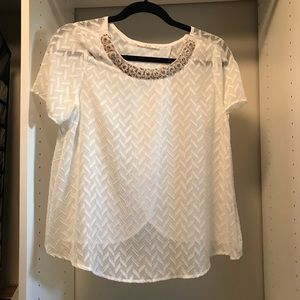 Le Liz white floral blouse sequin pearl chevron